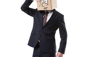tired businessman with cardboard box