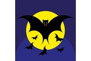 Bat for the night Halloween. Vector