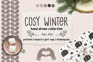 Cosy Winter hand drawn collection