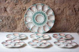 Vintage Oyster Plates Set