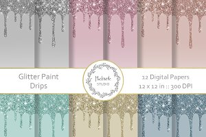 Glitter Paint Drips digital paper