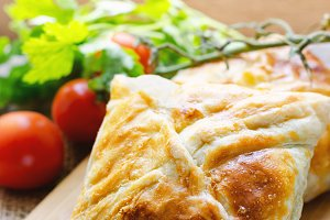 Homemade puff pastry with chicken.
