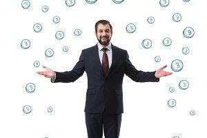 cheerful successful businessman in s