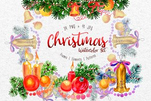 Christmas watercolor PNG set