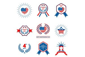 Set of badge for Independence day of