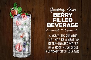 Sparkling Clear Drink with Berries