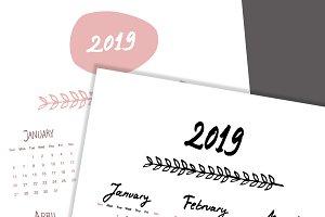 2 Hand Written Calendars 2019