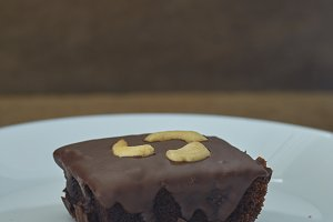 Chocolate brownie on wooden