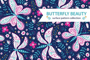 Butterfly Beauty.Pattern collection.