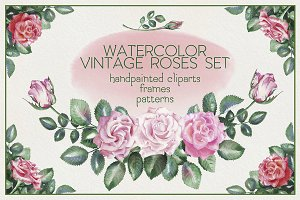 Watercolor Vintage Roses Set