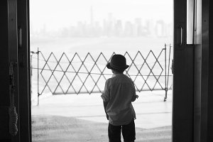 boy on staten island ferry 04 b&w