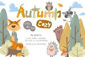 -30% Cozy Autumn vector animals  kit