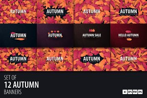 12 Autumn Backgrounds with leaves