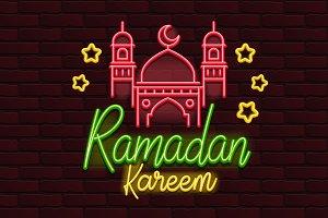 Vector Neon banner ramadan kareem