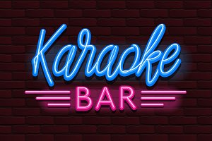 Vector Neon glow banner karaoke bar
