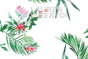 Tropical Floral with Bird
