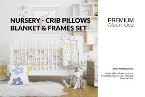Nursery Crib Pillows Blanket & Frame