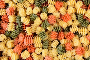 Tri-Color Radiatore Pasta Closeup