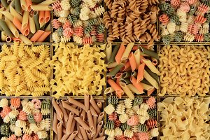 Closeup of a Box of Assorted Pastas