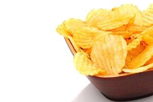 Potato Chips in bowl on white