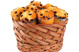 Basket of Chocolate Chip Muffins
