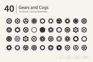 Gears and Cogs Icon Set