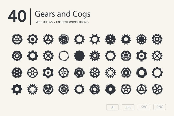 gears and cogs icon set icons creative market