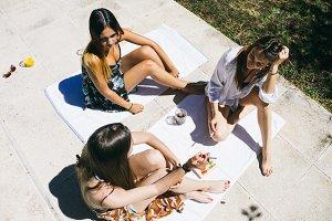 Speaking girlfriends sitting