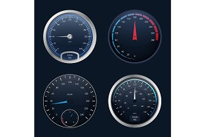 3d Speedometers Set. Vector