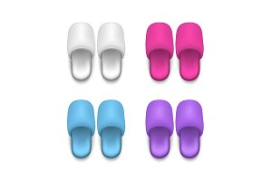 Home Slippers Mock Up. Vector