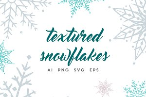 Vector textured grungy snowflakes