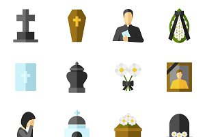 Funeral ceremony flat icons set