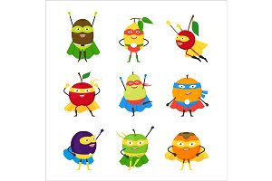 Vegetables Superhero Characters Set