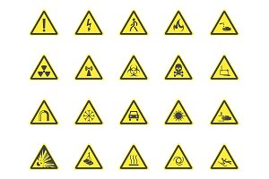 Yellow Warning Hazard Signs Set.