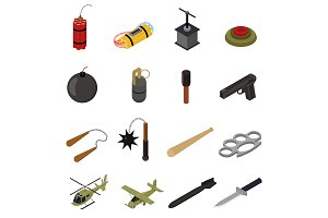 Weapons 3d Set Isometric View.