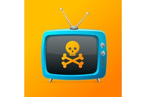 Blue Tv with Skull and Bones