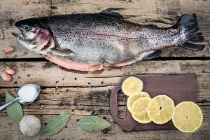 Fresh trout fish with spices on wood