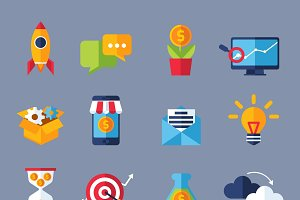 Digital marketing online icons set