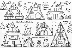 Doodle A-Frame Houses ClipArt