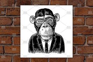 Monkey businessman suit, tie