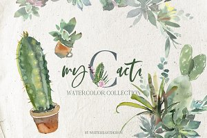 Cacti Watercolor Cactuses Clipart
