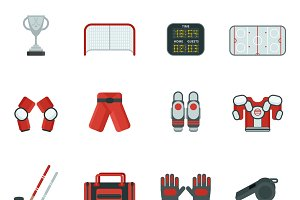Hockey color icon set