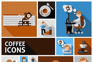 Coffee and morning icons set