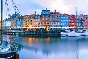 Panorama of Nyhavn in Copenhagen