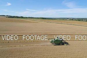 Combine harvester on wheat field