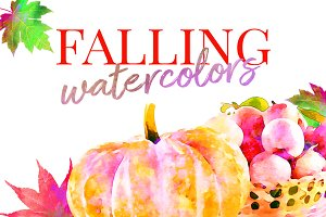 Fall Watercolors Pumpkin & Leaves