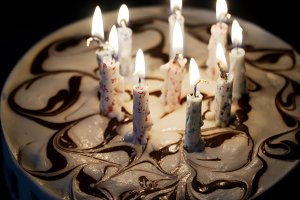 Birthday cake with candles.
