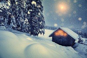 Christmas snowfall in mountains