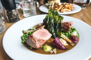 Pork tenderloin steak with vegetable