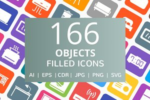 166 Objects Filled Round Corner Icon